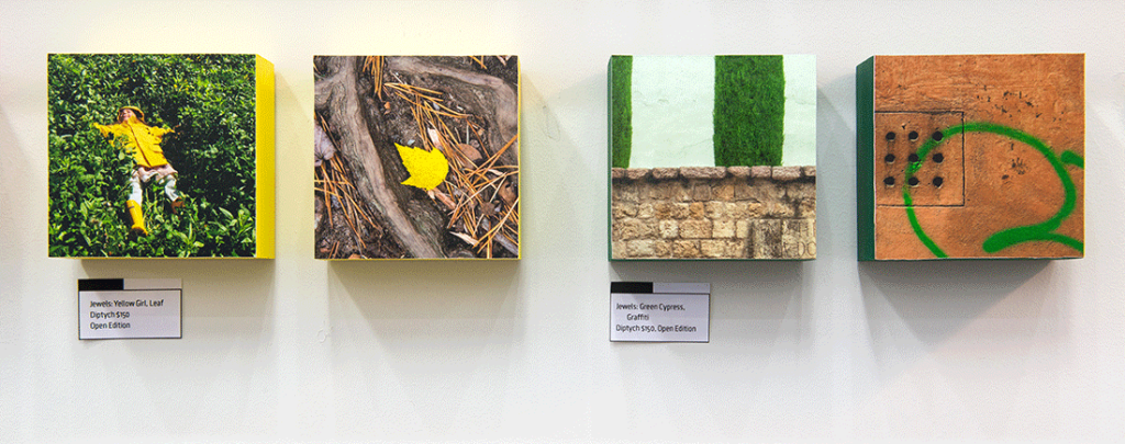 Installation view of Jewels: Yellow and Green
