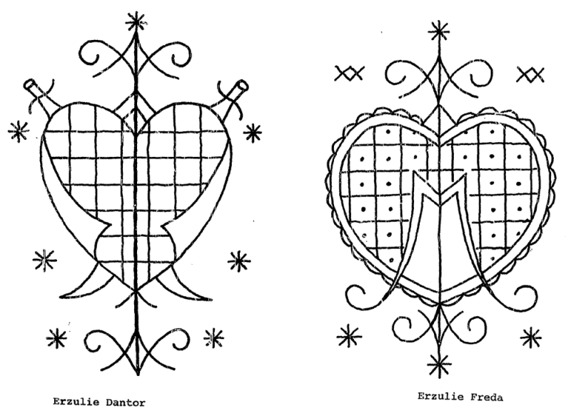 Two Veve representing the two main Erzulies, Erzulie Dantor and Erzulie Freda, from THE VEVE OF HAITIAN VODOU: A STRUCTURAL ANALYSIS OF VISUAL IMAGERY, by Karen McCarthy Brown, 1975.