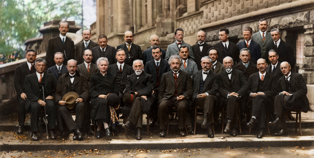The 1927 Solvay conference showing Marie Curie (third from left in front row) along with Einstein, Dirac, Pauli, Bohr, Schrödinger, and many more.