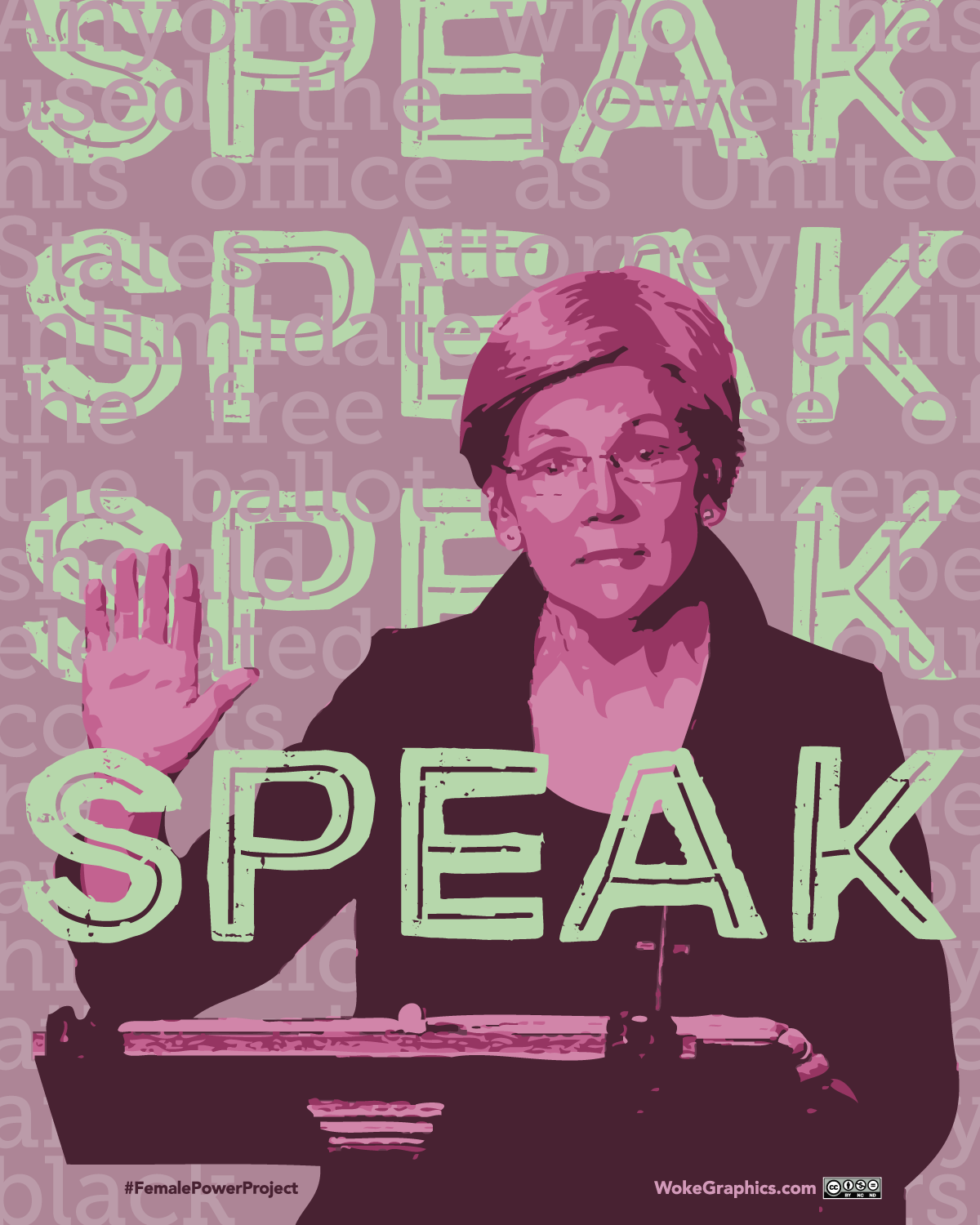 Nevertheless She Persisted, Elizabeth Warren, Female Power Project, Woke Graphics